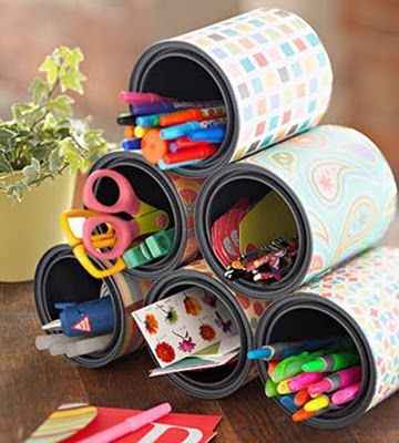 reuse cans and containers, wrap with scrapbook paper or contact paper and glue together. perfect for the arts/crafts station.