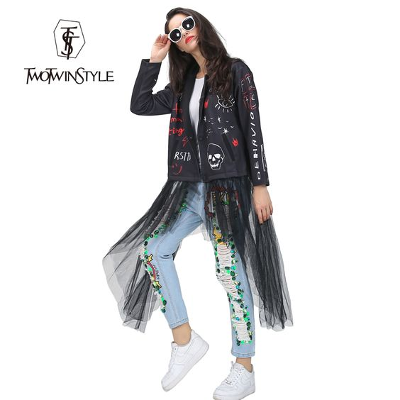 Find More Basic Jackets Information about [TWOTWINSTYLE] 2016 Autumn Print Gauze Spliced Jackets Women Basic Coat Streetwear New Clothing Fashion,High Quality women fist,China women size Suppliers, Cheap women hot from TWOTWINSTYLE on Aliexpress.com