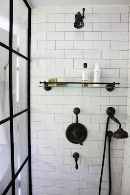 Bathroom shower door, oil rubbed bronze fittings