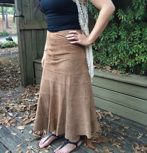 Vintage bohemian festival suede brown skirt by rediscoveredmuse