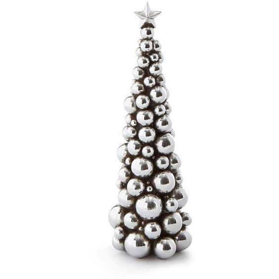 Silver 13 Christmas Ball Tree (€20) ❤ liked on Polyvore featuring home, home decor, holiday decorations, silver, silver home decor, silver home accessories, christmas holiday decor, christmas home decor and christmas holiday decorations