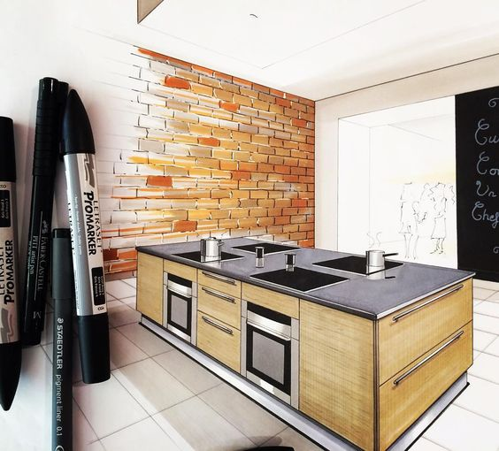 Sketching kitchen interior and ps on pinterest - Cocina en perspectiva ...