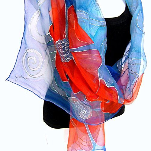"""Silk Scarf Hand Painted Handpainted Floral Chiffon Aqua Blue Orange Made To Order. Hand painted silk scarf, floral design outlined with silver, big orange flowers on aqua blue background, 71"""" long, made of sheer, transparent, airy and lightweight silk chiffon 3.5, handmade women fashion accessory by Silkshop on Handmade at Amazon. The scarf is MADE TO ORDER, completely hand painted by me in my studio. Dimensions: 180 x 45 cm (1 cm = 2,54"""", app. 71"""" x 18""""). Material: 100% natural silk…"""