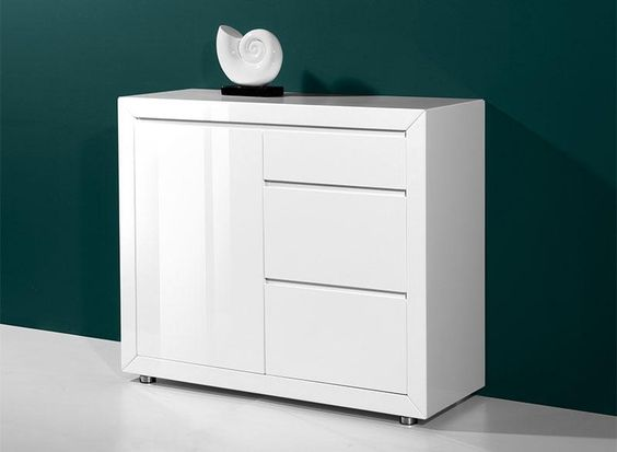 Fino by germania modern 1 door and 3 drawer sideboard high - Meuble bas laque blanc ikea ...