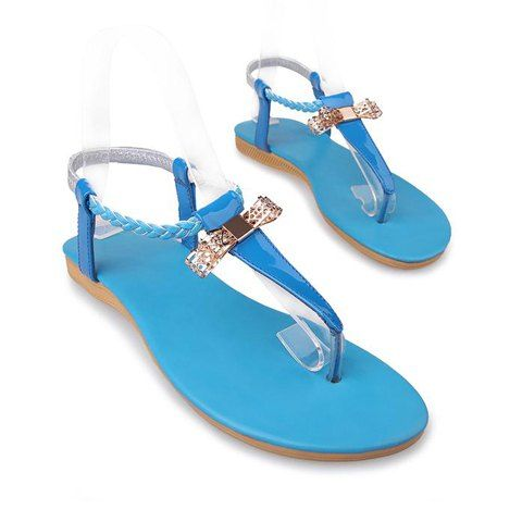 $19.77 Bohemian Bow and Straw Braid Design Women's Thong Sandals