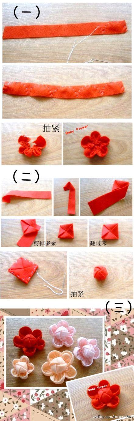 Pretty: Diy Flowers, Fabric Flowers, Baby Flower, Diy Craft, Pretty Flower, Japanese Flower, Felt Flowers, Ribbon Flower