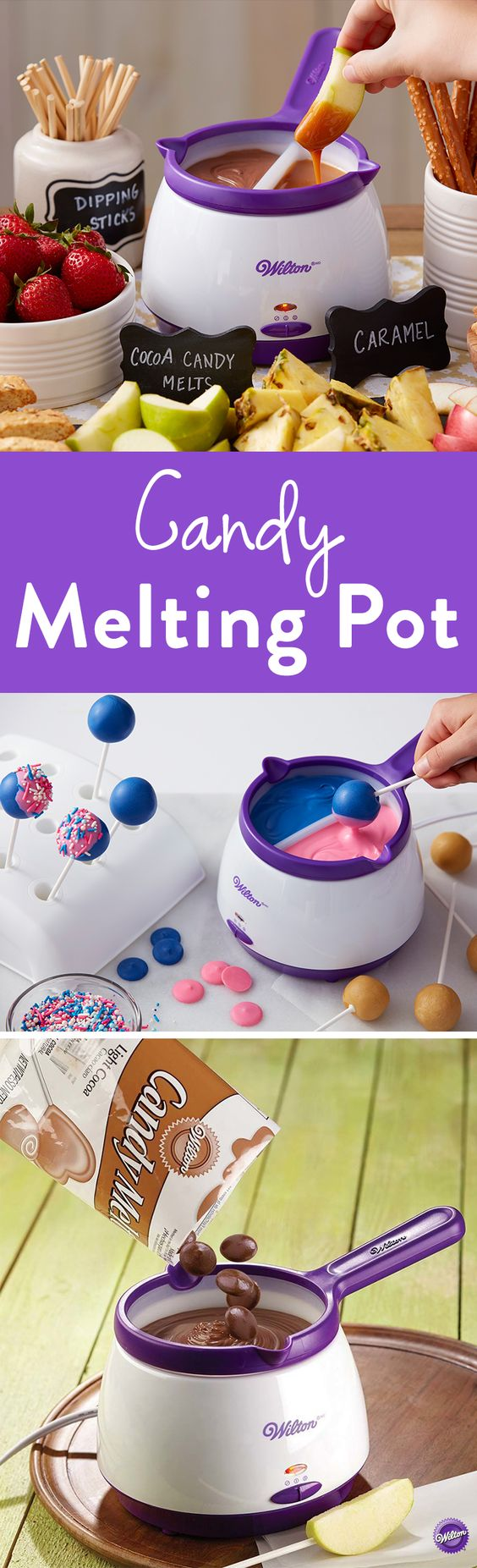 Candy Melts Melting Pot - Easily melt up to 2 ½ cups of Candy Melts candy for dipped strawberries, pretzels, bark candy and more in the Wilton Candy Melts Candy Melting Pot. It includes an easy-clean silicone pot, so when you're done dipping, just chill to harden candy and gently squeeze the silicone pot and the candy falls away!