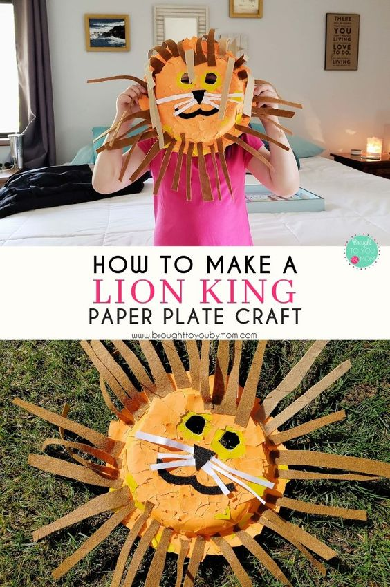 With the new Lion King movie releasing, check out how to make a Lion King paper plate craft. #lionking #diymask