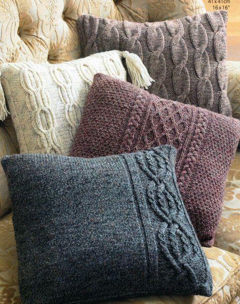 Knitting Patterns And Wool Sets : a set of aran knit cushion covers knitting pattern 99p Wool Crafts Pinter...