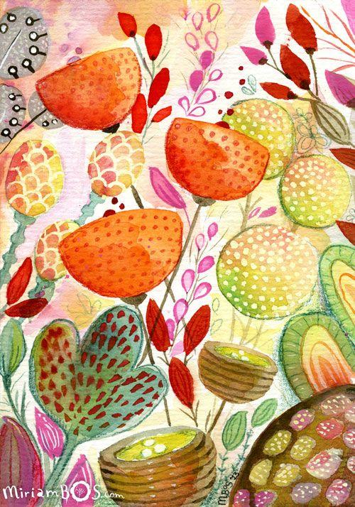 A fantasy garden - artwork by Miriam Bos | #illustration #gouache #ink #miriambos