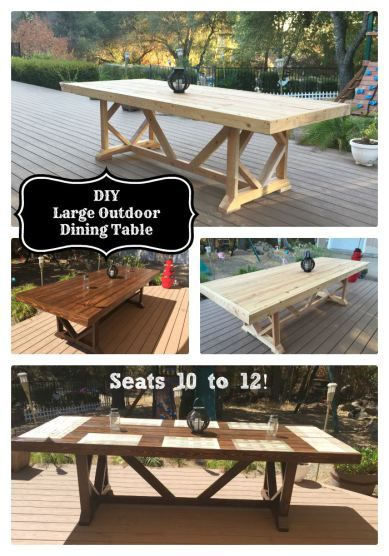 diy large outdoor dining table seats 10 12, diy, outdoor furniture, outdoor living, woodworking projects
