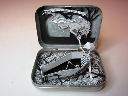 The Macabre Mini-World of Jim Doran    Member of the Order of the Good Death Jim Doran is a small-scale death wizard, sneaking little mortality tableaux into Altoid tins, Carmex lip balm containers, and sardine cans. He hand-draws and X-Acto carves each of these wee paper masterpieces. Many of them will be on display at the School 33 Art Center in Baltimore until October 27th before several pieces move on to the American Visionary Art Museum.