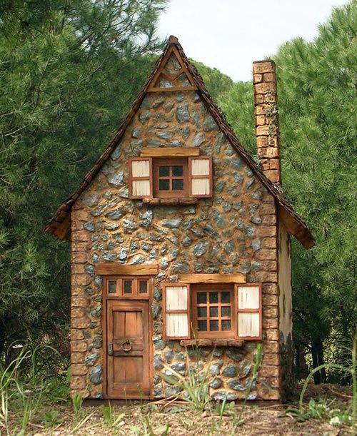 Stone cottage miniature duplicate pin faves a for Tiny stone house