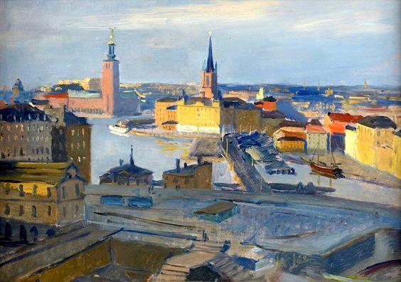 GUNNAR ZETTERSTRÖM (1902-1965), Motif from Stockholm, View towards Riddarholmen