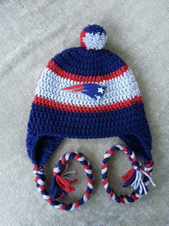 Free Crochet Pattern For New England Patriots Afghan : New England Patriots crochet hat at www.facebook.com ...