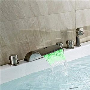 Modern Led Tub Faucet Brushed Nickel Waterfall Bathtub Tap With Hand Shower Tub Filler Faucet Bathtub Faucet Deck mount bath tub faucets