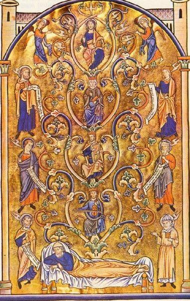 Psaume livre des psaumes , L'arbre de Jessé et la genealogie de Jésus, livre des psaumes 13e siecle