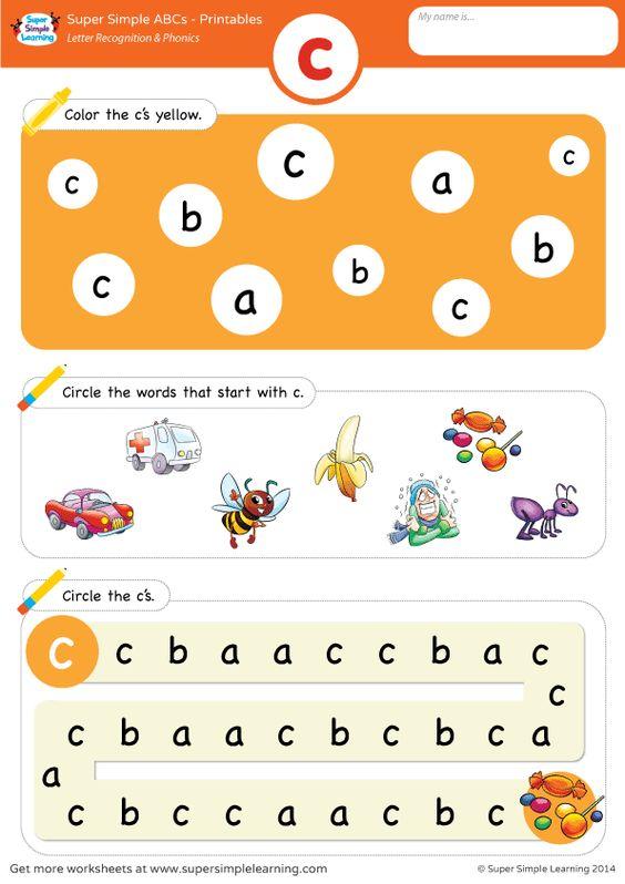 Lowercase letter c alphabet worksheet from Super Simple Learning ...