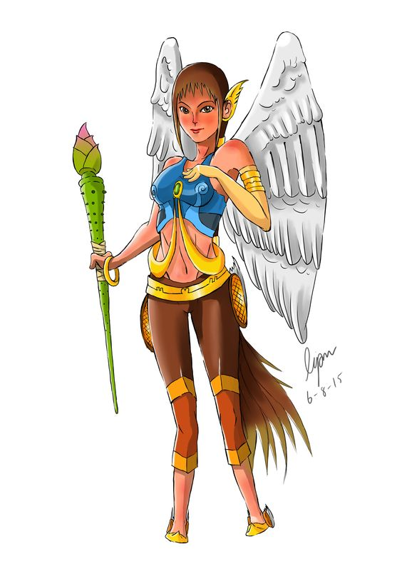 She is Tep Puksa or Queen's bird. She look like Kinnaree but, she different with them that she had legs of human. Kinnaree had legs of bird.