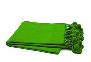 LOVE this color!!    Pom-Pom Blanket, Green  KARMA LIVING    $45.00