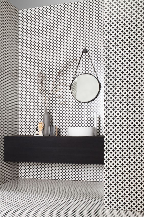 Bathroom, black and white tile, black caninets: