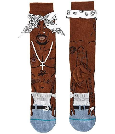 Stance Mens Tupac 2pac Crew Socks Brown L