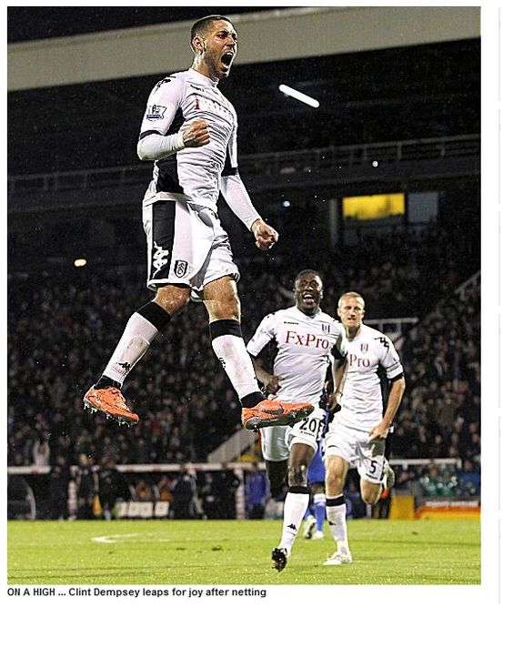 clint dempsey is having an unbelievable year.  here, he is floating on air.