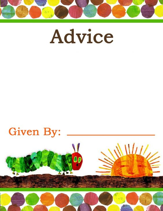 """the very hungry caterpillar"""" baby shower advice cards 