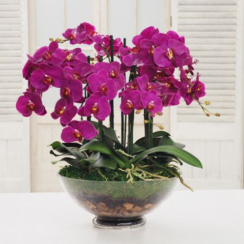 Quality silk orchid centerpiece silk flower arrangements for Orchid decor