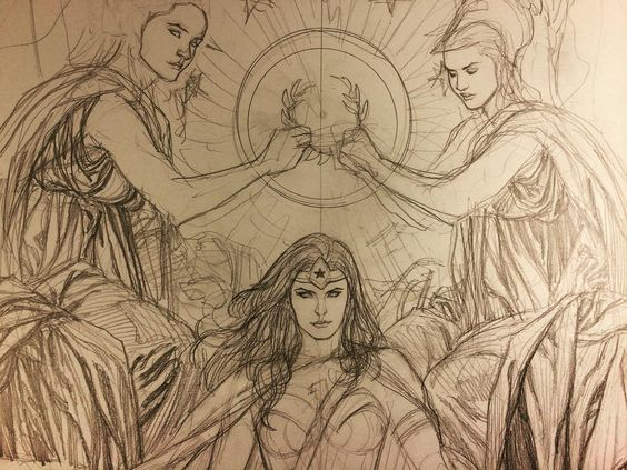 Wonder Woman cover sketch. Playing around with a Wonder Woman cover idea. I want to do a very Baroque piece, an allegory of some sort, bordering on almost religious alter-like piece.  #frankchoartist #wonderwoman #dccomics #baroque #religiousalter #altena #amazonwarriorprincess