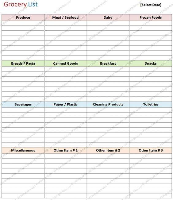 Blank Grocery List Template (Basic Format) List Templates - list templates