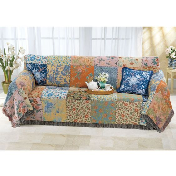 Vintage patchwork sofa cover rv pinterest sofa for Patchwork couch