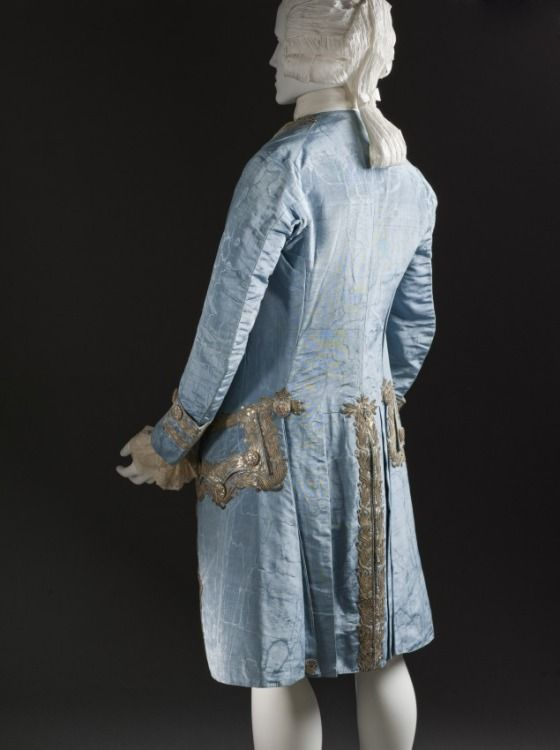 Back view, 3-piece court suit, France, c. 1760. Blue silk faille, moiré finish, with sequins and silver metallic-thread embroidery.