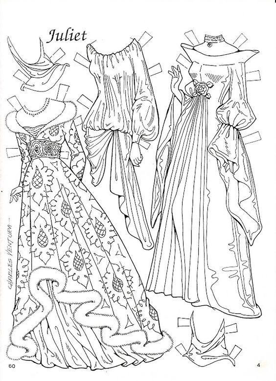 romeo and juliet  paper dolls and coloring on pinterest