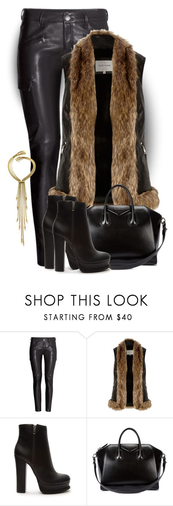 """""""Katt #2525"""" by gaburrus ❤ liked on Polyvore featuring H&M, River Island, Forever 21, Givenchy and Fallon"""