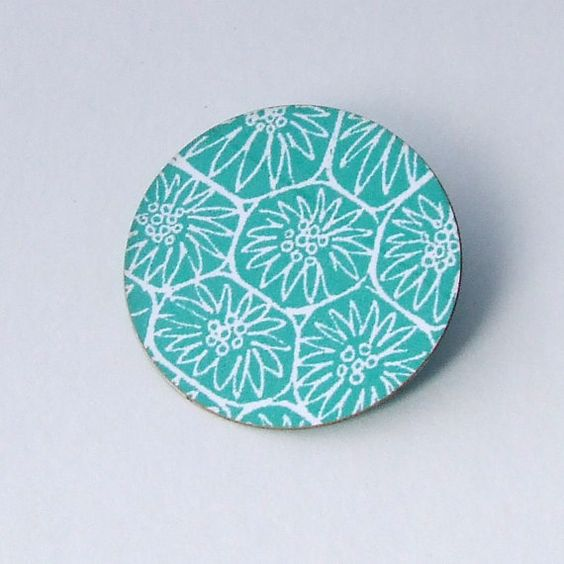 Colourful brooch green laminated card light durable by DittanyRose