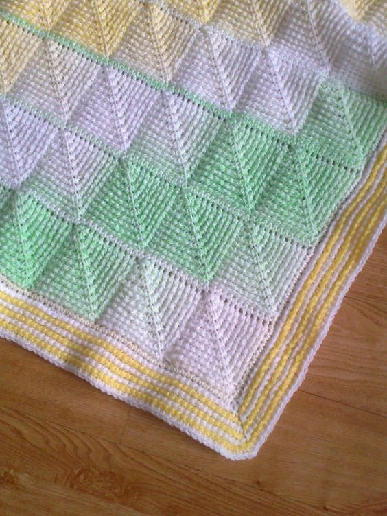 Diamond Afghan Knitting Pattern : Tunisian Crochet Pattern - Tunisian Diamond entrelac baby blanket Tunisian ...