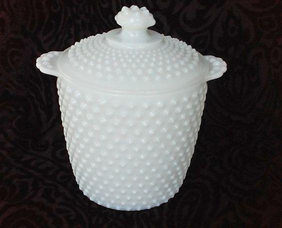 Vintage Hobnail Milk Glass Lidded Jar - Cookie Jar - Ice Bucket - By Anchor Hocking