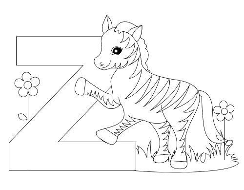 Here's a simple animal Alphabet Letter Z coloring page and ...