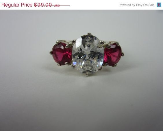 20% OFF SALE Vintage Sterling Silver Ring. 3 stone Red and Clear Cocktail Ring 8 on Etsy, $79.20