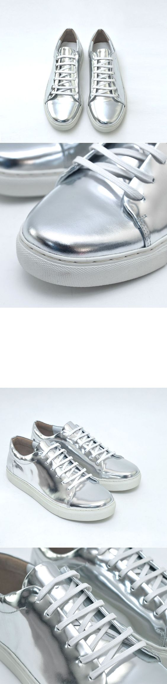 Shoes :: Sneakers :: Metal Silver & Black Leather Sneakers-Shoes 427 - Mens Fashion Clothing For An Attractive Guy Look