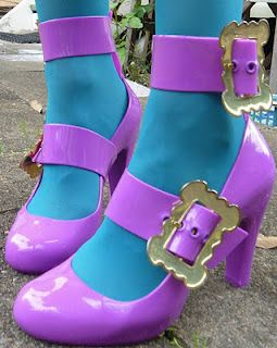Lavender with Turquoise funky shoes