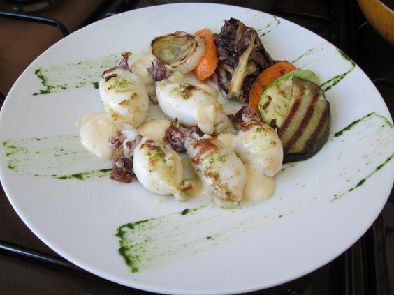 Calamar   farci de  pommes  de  terre  au  citron  et   legumes  grilles  sabayon  au  citron Gino D'Aquino