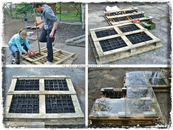 Fabriquer son carr de potager avec des palettes de r cup 39 jardin pinterest fils - Fabriquer carre potager ...