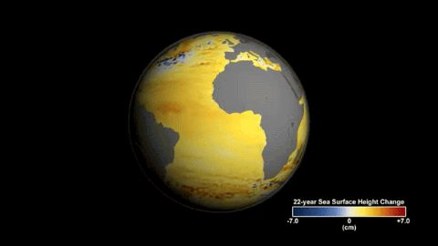 Between North America & Europe, satellites recorded a slow migration of the Gulf Stream northward. The falling sea surface off California & Mexico is due to the Pacific decadal oscillation. Satellites Spy Nearly Quarter-Century of Sea Level Rise
