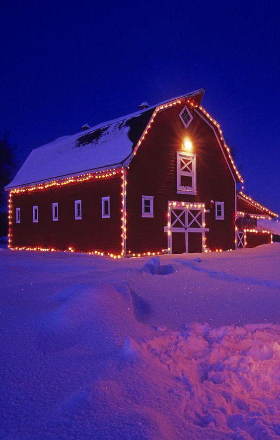 Lights on barn for christmas