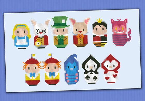 Alice in Wonderland parody Cross stitch PDF por cloudsfactory