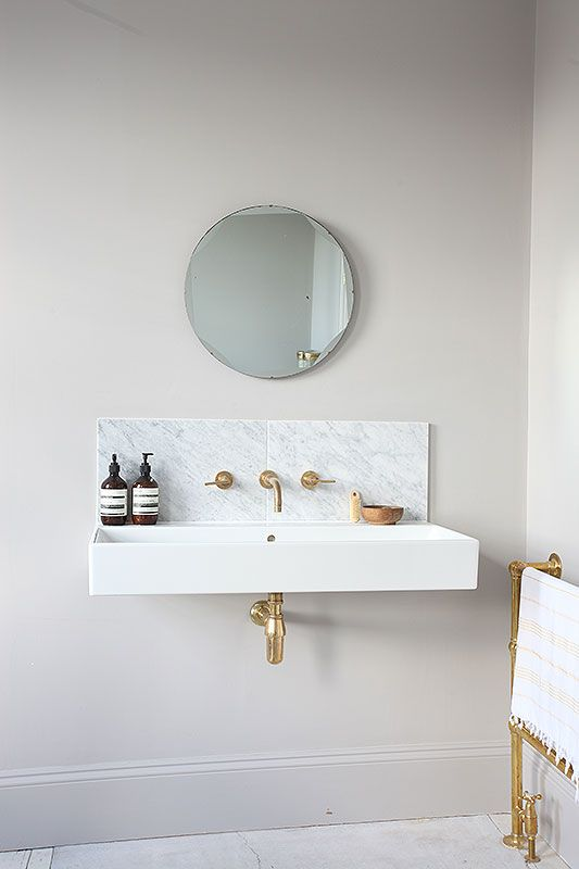 love the marble backsplash and overall shape, this is going in the powder room
