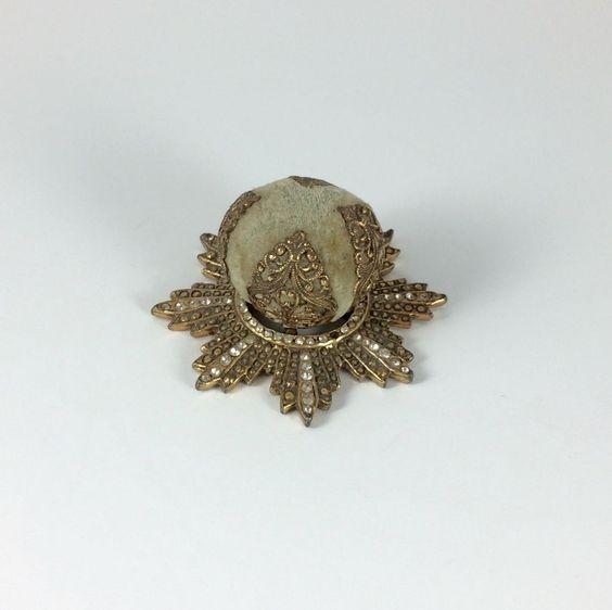 Hattie Carnegie Art Deco Gold Filigree with Rhinestones Velvet Hat Pin Cushion