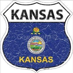 HS-124 Kansas State Flag Highway Shield Aluminum Metal Sign